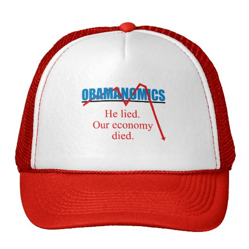 Obamanomics - He lied our economy died Mesh Hats