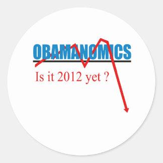 Obamanomics - is it 2012 yet round sticker