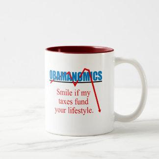 Obamanomics - Smile if my taxes fund your lifestyl Two-Tone Mug