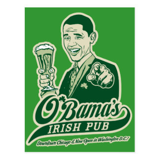 Obama's Irish Pub Post Card