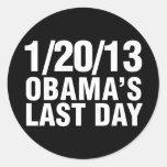 Obamas Last Day 1/20/13 Round Sticker