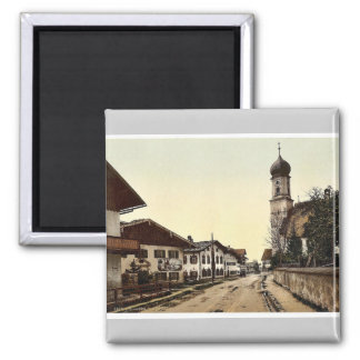 Oberammergau, general view,  Upper Bavaria, German Square Magnet