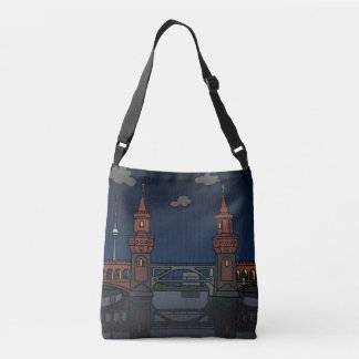 Oberbaum Bridge in Berlin at night Crossbody Bag