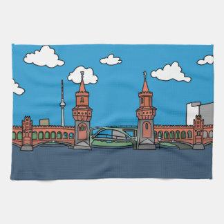 Oberbaum Bridge in Berlin Tea Towel