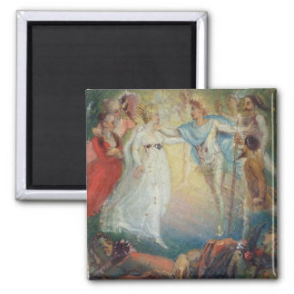 Oberon and Titania from 'A Midsummer Night's Dream Square Magnet