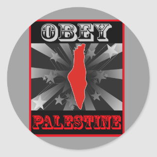 Obey Palestine Round Stickers