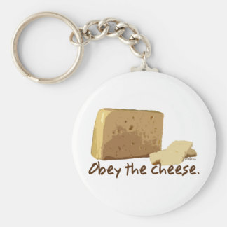 Obey the Cheese Basic Round Button Key Ring