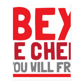 Obey the chef or you will fry postcard