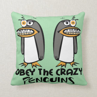 Obey The Crazy Penguins (Green) Cushion