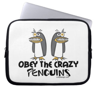 Obey the crazy Penguins! Laptop Sleeve