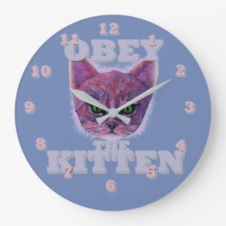 Obey the Kitten Large Clock