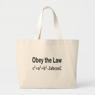 Obey the Law _ Law of Cosines Large Tote Bag
