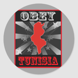 Obey Tunisia Round Sticker