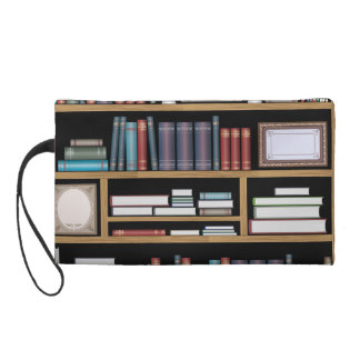 Objects and books wristlet purse