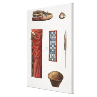 Objects belonging to Canadian Indians (colour engr Canvas Print