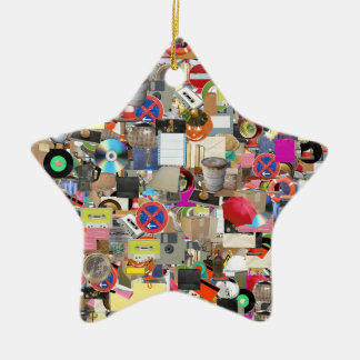 Objects collage ceramic star decoration