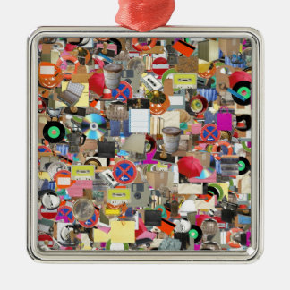 Objects collage Silver-Colored square decoration