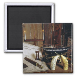 Objects from a Nineteenth Century Captain's Desk Square Magnet