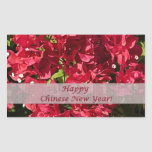 Oblong Sticker Chinese New Year Red Bougainvillea