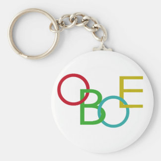 OBOE Letters Basic Round Button Key Ring