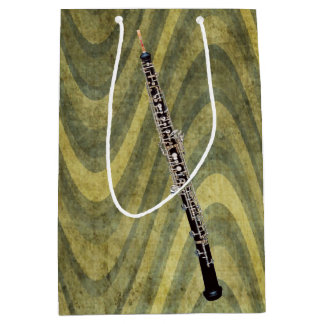 Oboe on Wavy Green Striped Background Medium Gift Bag