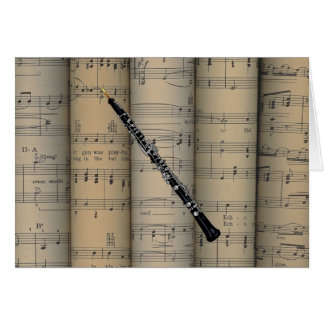 Oboe ~ Rolled Sheet Music Background ~ Musical Card
