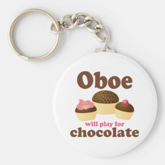 Oboe Will Play For Chocolate Basic Round Button Key Ring