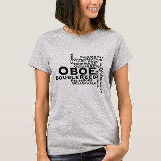 Oboe Word Cloud Black Text T-Shirt
