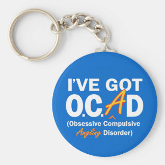 Obsessive Angling Disorder Basic Round Button Key Ring