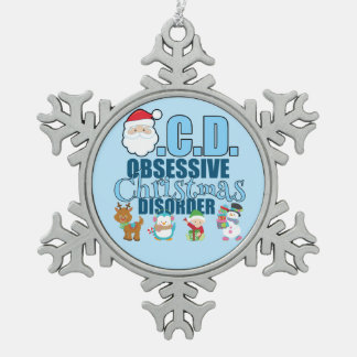 Obsessive Christmas Disorder (blue) Pewter Snowflake Decoration