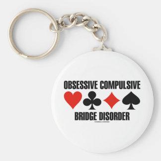 Obsessive Compulsive Bridge Disorder (OCBD) Basic Round Button Key Ring
