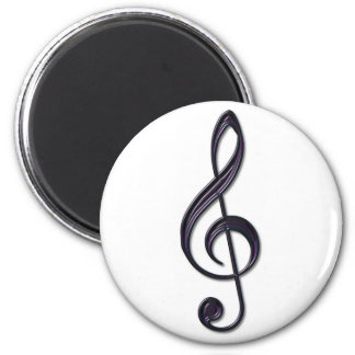 Obsidian Glass Treble Clef 6 Cm Round Magnet
