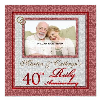OBSOLETE 40th Ruby Anniversary Custom Photo 13 Cm X 13 Cm Square Invitation Card