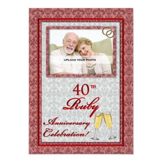 OBSOLETE: 40th Ruby Anniversary Damask Card