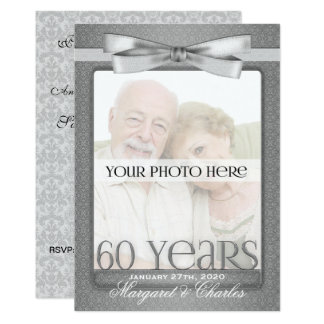OBSOLETE 60th Diamond Wedding Anny Photo Party Card