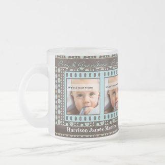 OBSOLETE: Grandma 4 Photo Brown and Aqua Frosted Glass Coffee Mug