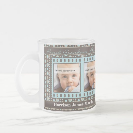 OBSOLETE: Grandma 4 Photo Brown and Aqua Frosted Glass Coffee Mug