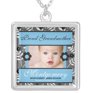 OBSOLETE: Proud Grandmother Personalized Photo Square Pendant Necklace