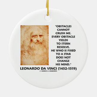 Obstacles Cannot Crush Me Fixed To A Star Quote Round Ceramic Decoration