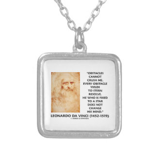Obstacles Cannot Crush Me Fixed To A Star Quote Square Pendant Necklace