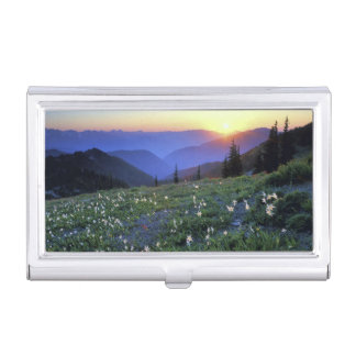 Obstruciton Point Sunset, Olympic NP, WA, USA Business Card Case