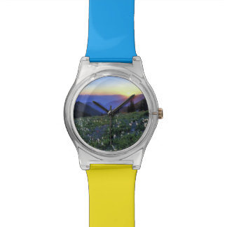 Obstruciton Point Sunset, Olympic NP, WA, USA Wrist Watches
