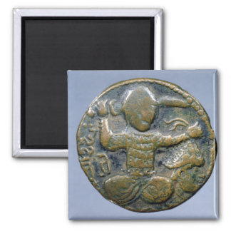 Obverse of coin depicting helmeted Turk Magnet