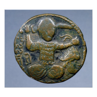 Obverse of coin depicting helmeted Turk Poster