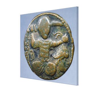 Obverse of coin depicting helmeted Turk Stretched Canvas Print