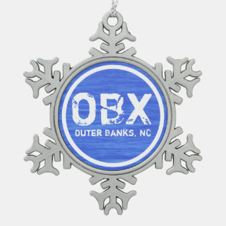OBX NC Outer Banks North Carolina Beach Holiday Pewter Snowflake Decoration