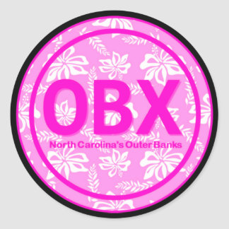 OBX Outer Banks NC Pink Flower Stickers