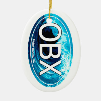OBX Outer Banks Wave Oval Christmas Ornament
