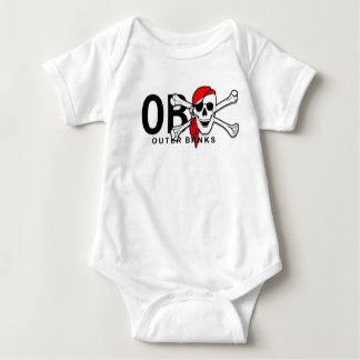 OBX Skull and Crossbones Pirate Outer Banks NC Baby Bodysuit