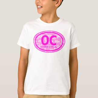 OC Ocean City NJ Pink Floral Beach Tag Hoodie